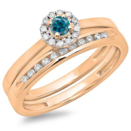 0.33 Carat (ctw) 18K Rose Gold Round Cut Blue & White Diamond Ladies Bridal Halo Engagement Ring With Matching Band Set 1/3 CT