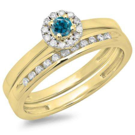0.33 Carat (ctw) 18K Yellow Gold Round Cut Blue & White Diamond Ladies Bridal Halo Engagement Ring With Matching Band Set 1/3 CT