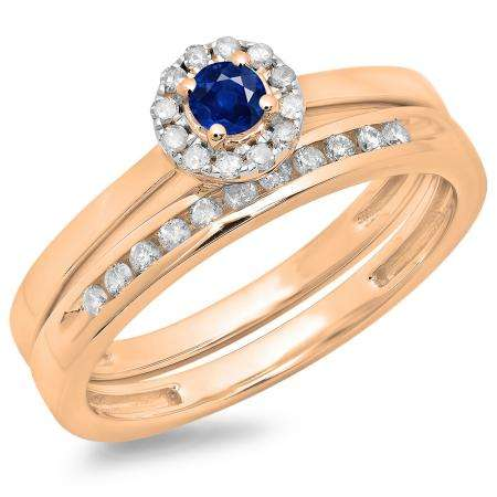 0.33 Carat (ctw) 14K Rose Gold Round Cut Blue Sapphire & White Diamond Ladies Bridal Halo Engagement Ring With Matching Band Set 1/3 CT