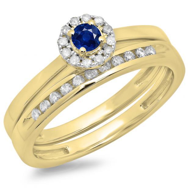 0.33 Carat (ctw) 18K Yellow Gold Round Cut Blue Sapphire & White Diamond Ladies Bridal Halo Engagement Ring With Matching Band Set 1/3 CT