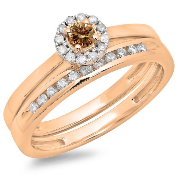 0.33 Carat (ctw) 18K Rose Gold Round Cut Champagne & White Diamond Ladies Bridal Halo Engagement Ring With Matching Band Set 1/3 CT