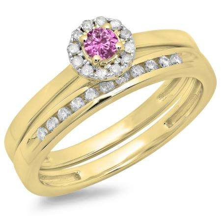 0.33 Carat (ctw) 18K Yellow Gold Round Cut Pink Sapphire & White Diamond Ladies Bridal Halo Engagement Ring With Matching Band Set 1/3 CT