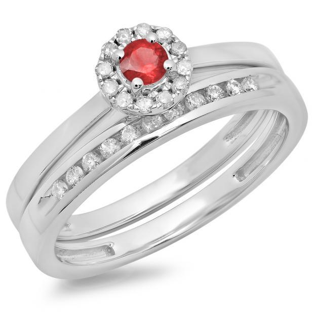 0.33 Carat (ctw) 14K White Gold Round Cut Red Ruby & White Diamond Ladies Bridal Halo Engagement Ring With Matching Band Set 1/3 CT