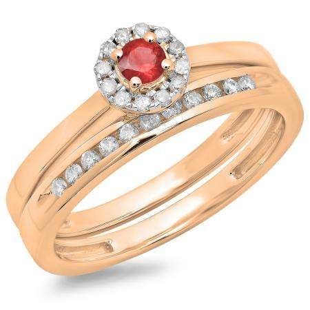 0.33 Carat (ctw) 18K Rose Gold Round Cut Red Ruby & White Diamond Ladies Bridal Halo Engagement Ring With Matching Band Set 1/3 CT