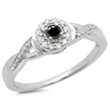 0.25 Carat (ctw) 14K White Gold Round Black & White Diamond Ladies Swirl Split Shank Bridal Halo Engagement Ring 1/4 CT