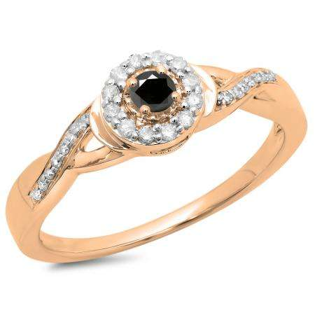 0.25 Carat (ctw) 18K Rose Gold Round Black & White Diamond Ladies Swirl Split Shank Bridal Halo Engagement Ring 1/4 CT
