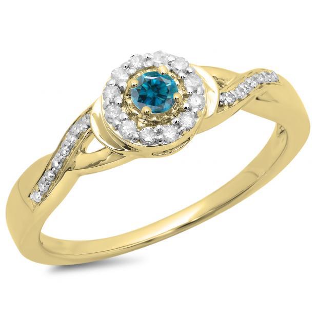 0.25 Carat (ctw) 10K Yellow Gold Round Blue & White Diamond Ladies Swirl Split Shank Bridal Halo Engagement Ring 1/4 CT