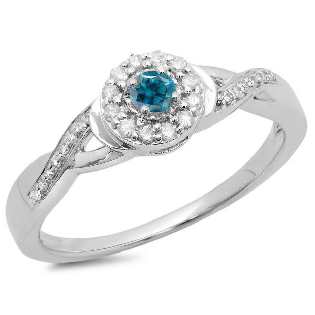 0.25 Carat (ctw) 14K White Gold Round Blue & White Diamond Ladies Swirl Split Shank Bridal Halo Engagement Ring 1/4 CT