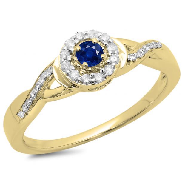 0.25 Carat (ctw) 10K Yellow Gold Round Blue Sapphire & White Diamond Ladies Swirl Split Shank Bridal Halo Engagement Ring 1/4 CT