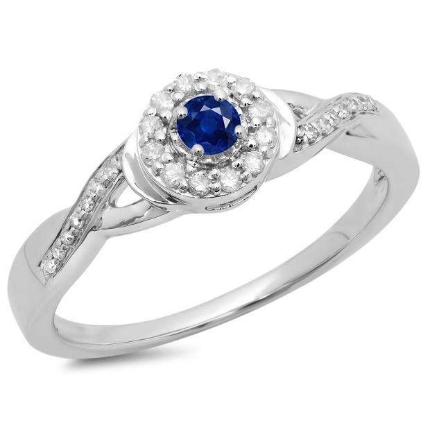 0.25 Carat (ctw) 14K White Gold Round Blue Sapphire & White Diamond Ladies Swirl Split Shank Bridal Halo Engagement Ring 1/4 CT