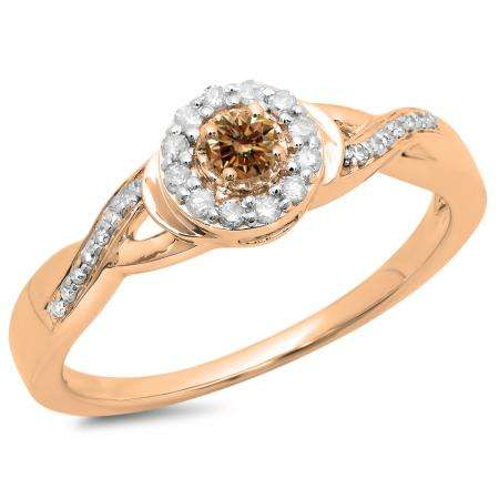 0.25 Carat (ctw) 14K Rose Gold Round Champagne & White Diamond Ladies Swirl Split Shank Bridal Halo Engagement Ring 1/4 CT