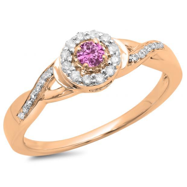 0.25 Carat (ctw) 10K Rose Gold Round Pink Sapphire & White Diamond Ladies Swirl Split Shank Bridal Halo Engagement Ring 1/4 CT