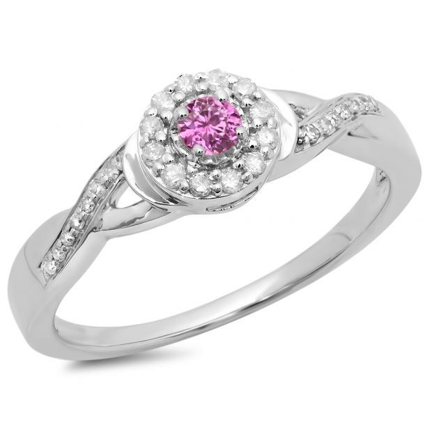 0.25 Carat (ctw) 14K White Gold Round Pink Sapphire & White Diamond Ladies Swirl Split Shank Bridal Halo Engagement Ring 1/4 CT