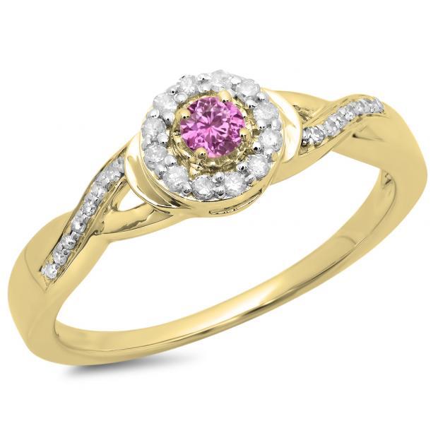 0.25 Carat (ctw) 14K Yellow Gold Round Pink Sapphire & White Diamond Ladies Swirl Split Shank Bridal Halo Engagement Ring 1/4 CT