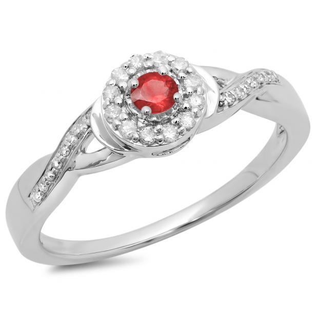 0.25 Carat (ctw) 10K White Gold Round Red Ruby & White Diamond Ladies Swirl Split Shank Bridal Halo Engagement Ring 1/4 CT