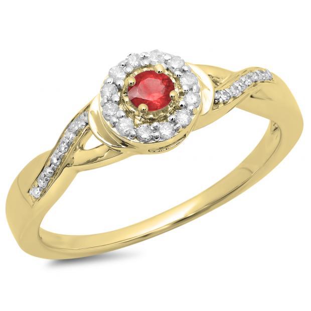 0.25 Carat (ctw) 18K Yellow Gold Round Red Ruby & White Diamond Ladies Swirl Split Shank Bridal Halo Engagement Ring 1/4 CT