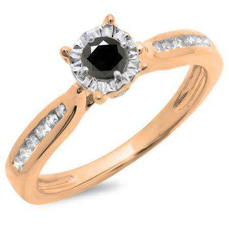 0.40 Carat (ctw) 18K Rose Gold Round Cut Black & White Diamond Ladies Bridal Solitaire With Accents Engagement Ring