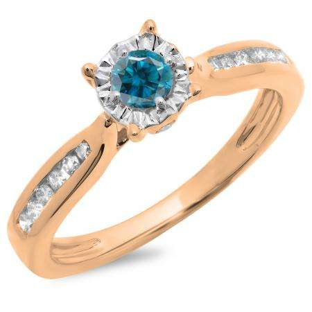 0.40 Carat (ctw) 18K Rose Gold Round Cut Blue & White Diamond Ladies Bridal Solitaire With Accents Engagement Ring