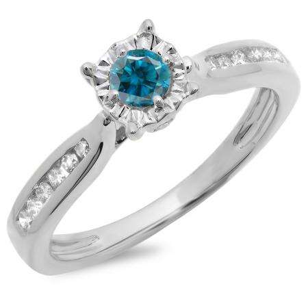 0.40 Carat (ctw) 18K White Gold Round Cut Blue & White Diamond Ladies Bridal Solitaire With Accents Engagement Ring