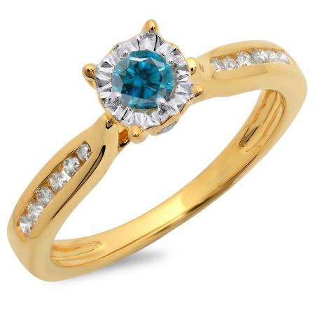 0.40 Carat (ctw) 18K Yellow Gold Round Cut Blue & White Diamond Ladies Bridal Solitaire With Accents Engagement Ring