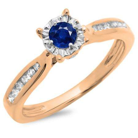0.40 Carat (ctw) 10K Rose Gold Round Cut Blue Sapphire & White Diamond Ladies Bridal Solitaire With Accents Engagement Ring