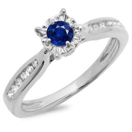 0.40 Carat (ctw) 10K White Gold Round Cut Blue Sapphire & White Diamond Ladies Bridal Solitaire With Accents Engagement Ring