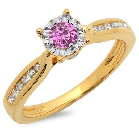 0.40 Carat (ctw) 10K Yellow Gold Round Cut Pink Sapphire & White Diamond Ladies Bridal Solitaire With Accents Engagement Ring