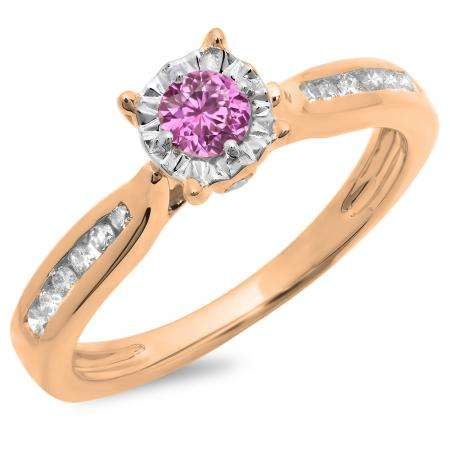 0.40 Carat (ctw) 18K Rose Gold Round Cut Pink Sapphire & White Diamond Ladies Bridal Solitaire With Accents Engagement Ring