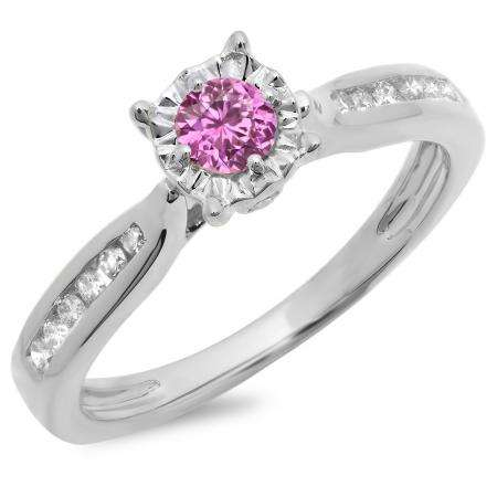 0.40 Carat (ctw) 18K White Gold Round Cut Pink Sapphire & White Diamond Ladies Bridal Solitaire With Accents Engagement Ring