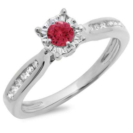0.40 Carat (ctw) 10K White Gold Round Cut Red Ruby & White Diamond Ladies Bridal Solitaire With Accents Engagement Ring