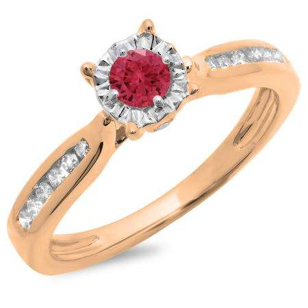 0.40 Carat (ctw) 18K Rose Gold Round Cut Red Ruby & White Diamond Ladies Bridal Solitaire With Accents Engagement Ring