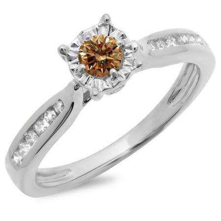 0.40 Carat (ctw) 14K White Gold Round Cut Champagne & White Diamond Ladies Bridal Solitaire With Accents Engagement Ring