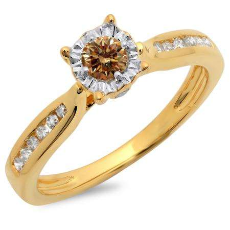 0.40 Carat (ctw) 18K Yellow Gold Round Cut Champagne & White Diamond Ladies Bridal Solitaire With Accents Engagement Ring