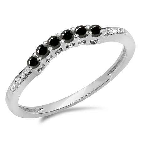 0.25 Carat (ctw) 14K White Gold Round Black & White Diamond Ladies Anniversary Wedding Stackable Band Guard Ring 1/4 CT