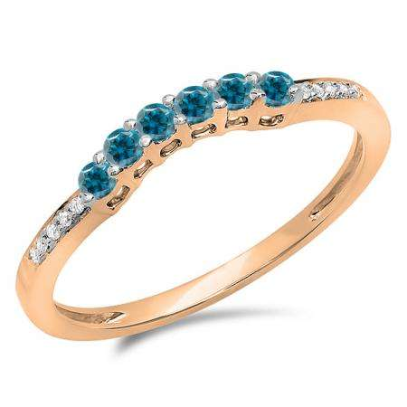 0.25 Carat (ctw) 10K Rose Gold Round Blue & White Diamond Ladies Anniversary Wedding Stackable Band Guard Ring 1/4 CT