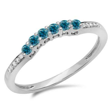 0.25 Carat (ctw) 10K White Gold Round Blue & White Diamond Ladies Anniversary Wedding Stackable Band Guard Ring 1/4 CT