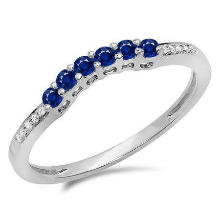 0.25 Carat (ctw) 10K White Gold Round Blue Sapphire & White Diamond Ladies Anniversary Wedding Stackable Band Guard Ring 1/4 CT