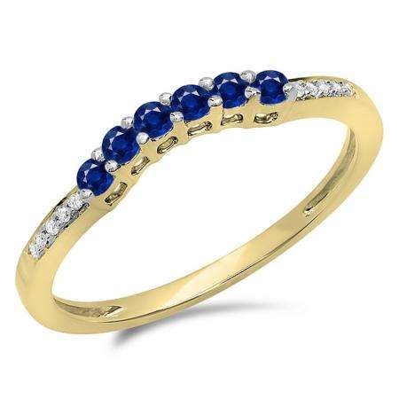 0.25 Carat (ctw) 10K Yellow Gold Round Blue Sapphire & White Diamond Ladies Anniversary Wedding Stackable Band Guard Ring 1/4 CT