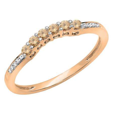 0.25 Carat (ctw) 10K Rose Gold Round Champagne & White Diamond Ladies Anniversary Wedding Stackable Band Guard Ring 1/4 CT