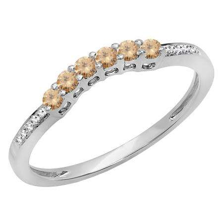 0.25 Carat (ctw) 18K White Gold Round Champagne & White Diamond Ladies Anniversary Wedding Stackable Band Guard Ring 1/4 CT