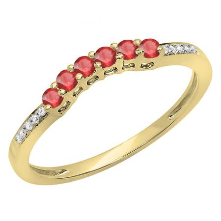 0.25 Carat (ctw) 14K Yellow Gold Round Red Ruby & White Diamond Ladies Anniversary Wedding Stackable Band Guard Ring 1/4 CT