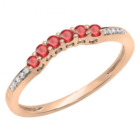 0.25 Carat (ctw) 18K Rose Gold Round Red Ruby & White Diamond Ladies Anniversary Wedding Stackable Band Guard Ring 1/4 CT