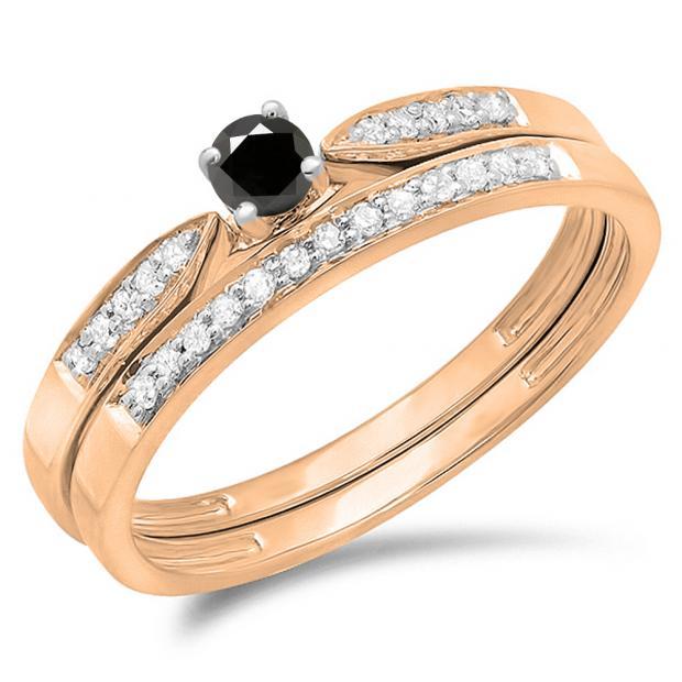 0.25 Carat (ctw) 14K Rose Gold Round Black & White Diamond Ladies Bridal Engagement Ring Matching Band Wedding Set 1/4 CT