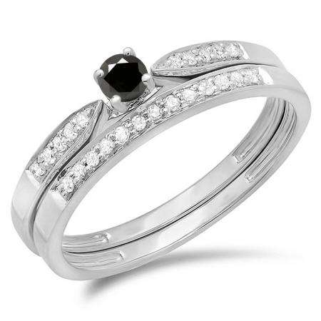 0.25 Carat (ctw) 14K White Gold Round Black & White Diamond Ladies Bridal Engagement Ring Matching Band Wedding Set 1/4 CT