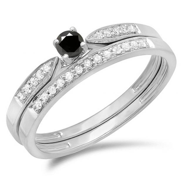 0.25 Carat (ctw) 18K White Gold Round Black & White Diamond Ladies Bridal Engagement Ring Matching Band Wedding Set 1/4 CT
