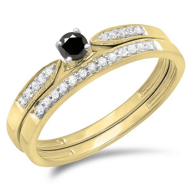0.25 Carat (ctw) 18K Yellow Gold Round Black & White Diamond Ladies Bridal Engagement Ring Matching Band Wedding Set 1/4 CT