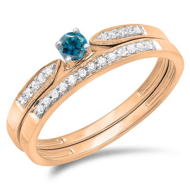 0.25 Carat (ctw) 10K Rose Gold Round Blue & White Diamond Ladies Bridal Engagement Ring Matching Band Wedding Set 1/4 CT