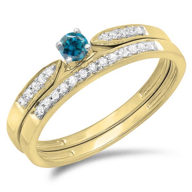 0.25 Carat (ctw) 10K Yellow Gold Round Blue & White Diamond Ladies Bridal Engagement Ring Matching Band Wedding Set 1/4 CT