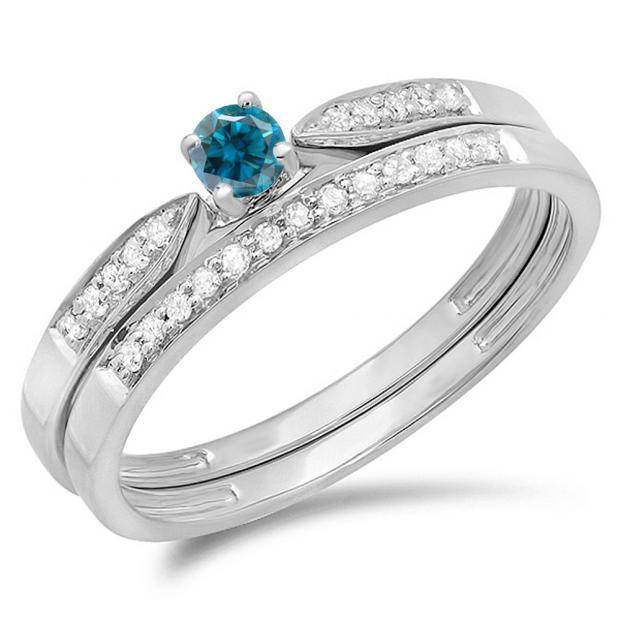 0.25 Carat (ctw) 14K White Gold Round Blue & White Diamond Ladies Bridal Engagement Ring Matching Band Wedding Set 1/4 CT