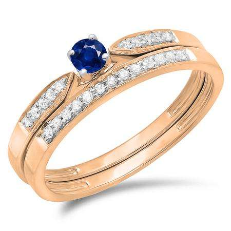 0.25 Carat (ctw) 14K Rose Gold Round Blue Sapphire & White Diamond Ladies Bridal Engagement Ring Matching Band Wedding Set 1/4 CT